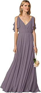 Zhongde Women's Ruffled Straps V-Neck Floor Length Chiffon Long Bridesmaid Dress Formal Evening Gown