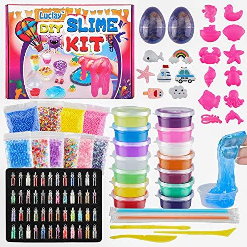 Luclay DIY Slime Fluffy Kit Schleim Set Kids Ball für Mädchen Jungen mit klarem Kristall Slime, Slime Eggs, Glitter Jars, Stars, Colorful Foam Balls, Container Kids Slime Kits für Kinder 6-12 Jahren