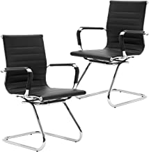 Wahson Heavy Duty Leather Office Guest Chair Mid Back Sled Reception Conference Room Chairs, Set of 2 (Black)