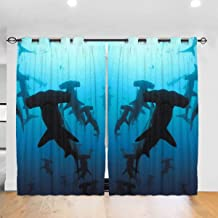 NiYoung Blackout Drapes Window Curtains Home Decor for Living Room/Bedroom, Hammerhead Sharks Window Draperies Room Darkening Drapes 52x72 Inch Long French Door Curtain