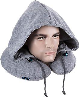 Merlin SkySnug Neck Support Travel Pillow With Hat, Built-In Wireless Bluetooth Headset Earphones Grey/Black Neck Rest Cus...