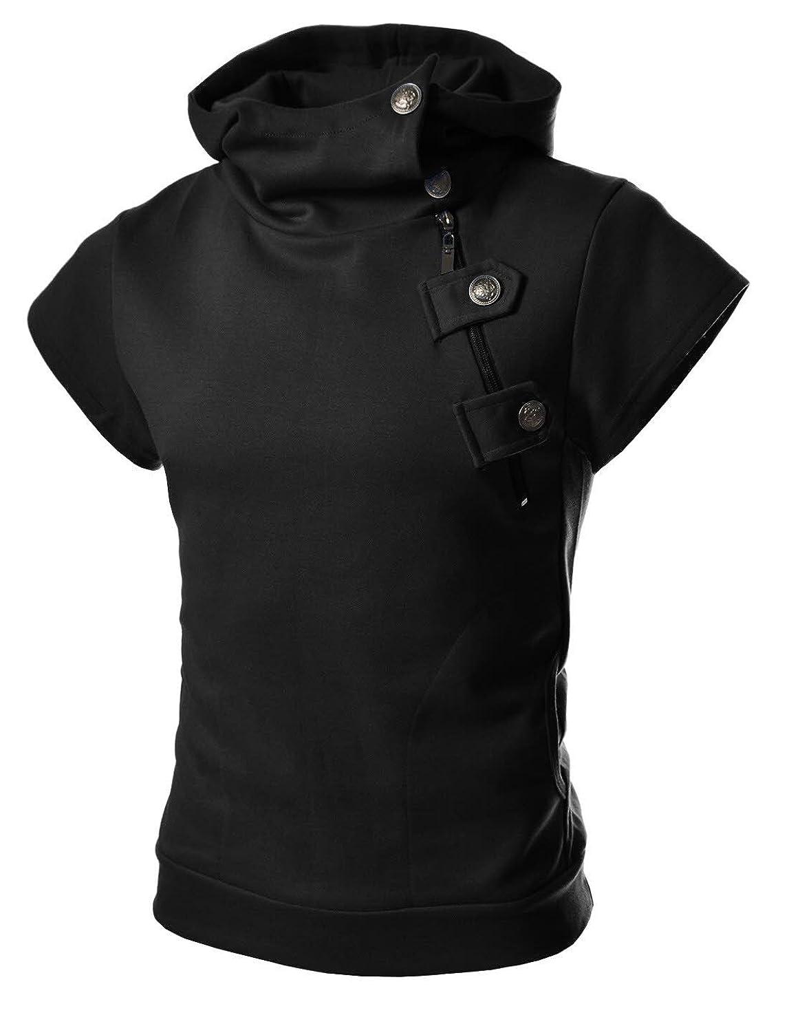 TheLees 4BH Mens Casual Luxury Buckle Hoodie Slim Cotton Sweatshirts