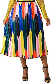 Women's Midi Pleated Skirts - Elegant Multicolor Graffiti Cartoon Printed A Line Elastic Waist Swing Dresses