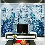 NIdezuiai Tapeten Wandbilder,Geprägte Blauer Pfau Öl