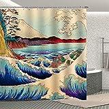Fuortia Wave Duschvorhang Retro Japan Mount Fuji Badezimmer Gardinen Sets Blau Ocean Art Duschvorhang Home Dekoration mit Haken 177,8 x 177,8 cm