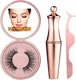 Magnetic Eyeliner Eyelashes Kits, Playmont Magnetic Eyeliner Kit, Magnetic Eyeliner for Magnetic Lashes Set, Reusable Lashes and Tweezers