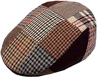 Patchwork Irish Style Ivy Flat Cap, Warm Quilted Interior, Mens