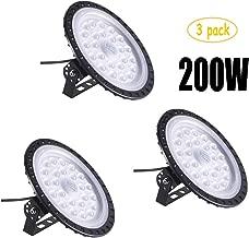 Bikuer 200W UFO LED High Bay Light lamp Factory Warehouse Industrial Lighting 10000 Lumen 6000-6500K IP65 Warehouse LED Lights- Commercial Bay Lighting for Garage Factory Workshop Gym (200W 3pcs)