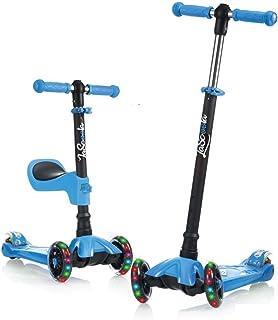 اسکوتر Kick 2-in-1 Lascoota با صندلی قابل جابجایی عالی برای کودکان و نوجوانان و کودکان نوپا - قابلیت تنظیم ارتفاع w / چرخ های فوق العاده گسترده PU عرشه PU برای کودکان از 2 تا 14 سال
