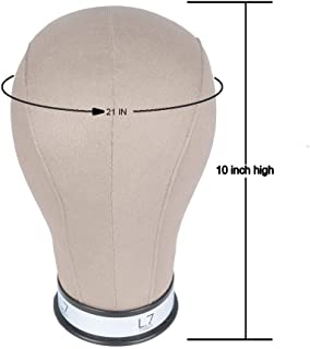 L7 Canvas Block Head for Wig Display, Making,Cork Canvas Blocked Mannequin Head with Mount Hole Manikin Head 21