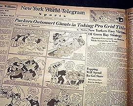 GREEN BAY PACKERS Win NFL Football Title vs. New York GIANTS 1939 Old Newspaper NEW YORK WORLD-TELEGRAM, December 11, 1939