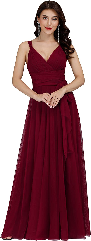 Ever-Pretty Women's Elegant V Neck Floor Length A Line Empire Waist Long Tulle Bridesmaid Dresses 07303