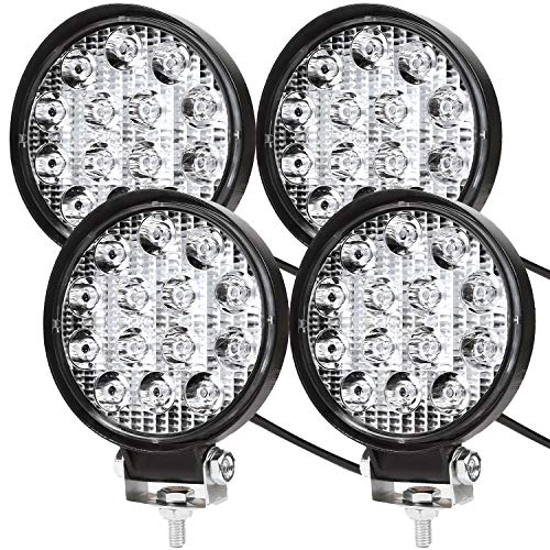 LED Arbeitsscheinwerfer, 4 X 42W Quadrat LED Offroad Zusatzscheinwerfer 12V 24V Scheinwerfer IP67 Wasserdicht Rückfahrscheinwerfer für Trecker KFZ Bagger SUV, UTV, ATV