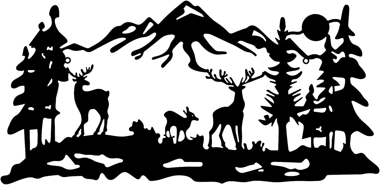 Deer and Woodland Metal Wall Art 16 x 8 inch Laser Deer Decor Rustic Wall Decor Fine Cut Wall Art Sign Pine Tree Hunting Decor Black Cabin Wall Decor for Home Office Living Room Bedroom Decoration