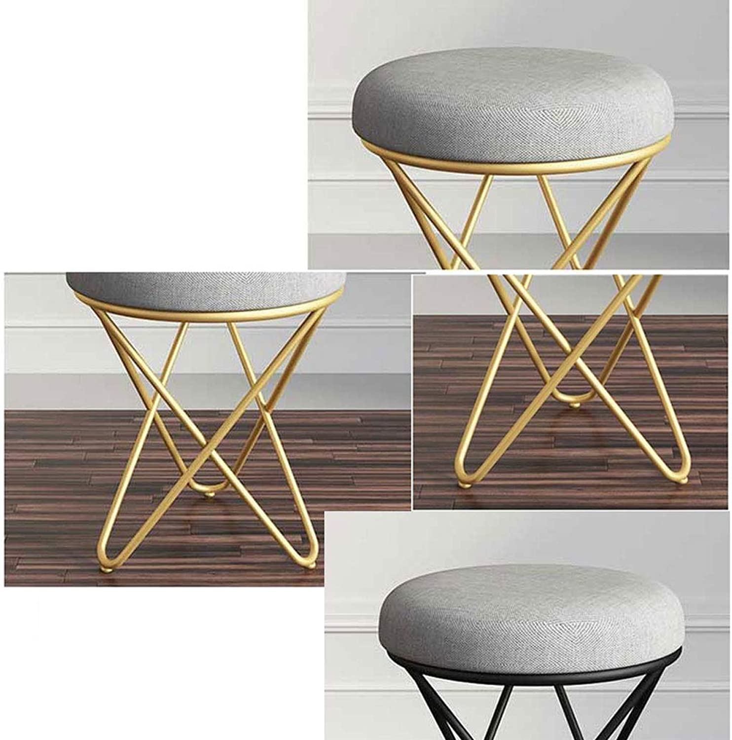 Small Stool Makeup Stool Bedroom Stool Chair Small Feet Change shoes Bench GMING (color   White)