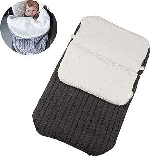 Winter Baby Footmuff, Baby Swaddle Blanket Stroller Wrap Fleece Blanket Sleeping Bag Plus Velvet Toddler Fleece Sleeping Bag,Black