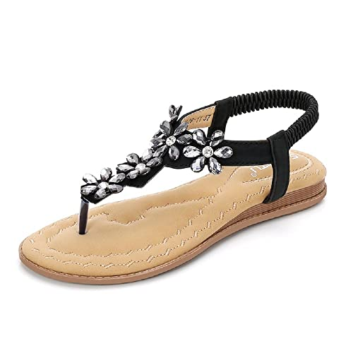 9e45ce91034494 KUONUO Women s Sandals Flats Fashion Summer Bohemia Beach Sandals Flip Flop  Shoes
