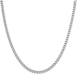 Stainless Steel Chain Necklace Silver for Men Women 16
