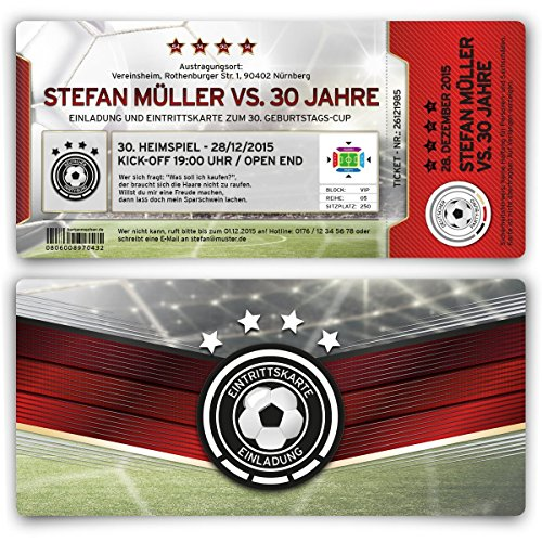 Einladungen (10 Stück) zum Geburtstag Deutschland Fußball Ticket 4 Sterne Einladungskarten