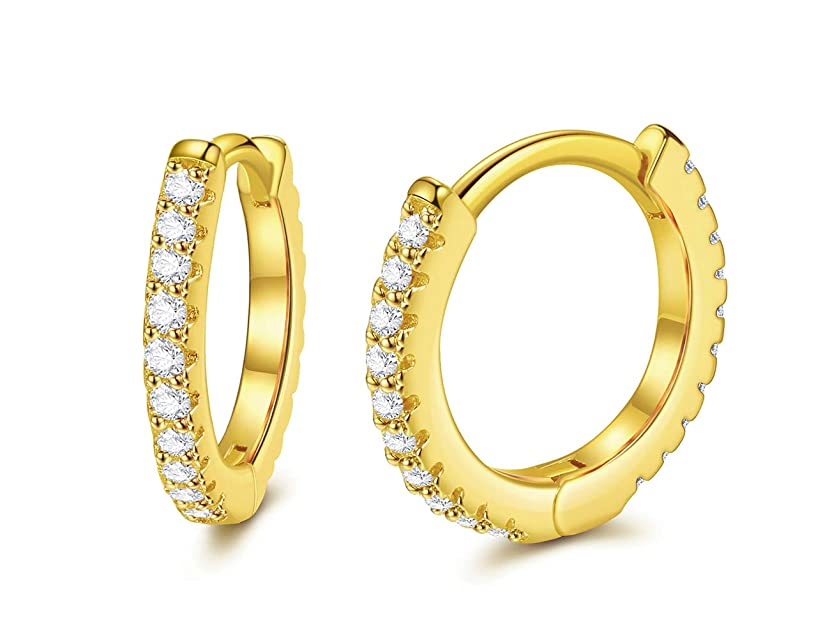 CZ Hoop Earrings with Cushion Cut Cubic Zirconia 24K Gold Plated Ear Cuff Huggie Earrings Stud for Cartilage 13mm Wonderful Gift Choice for Women and Men