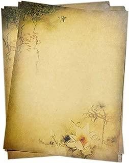 16Pcs Retro Lotus Kraft Paper Stationery Calligraphy Writing Papers