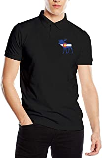 Men's Colorado Flag Moose Fit Short Sleeve Polo Shirt Tee