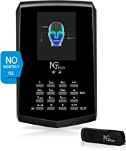 Face Recognition Time Clock, NGTeco Biometric Time Clocks for Employees Small Business In and Out - 2.4Ghz WiFi LAN Facial...