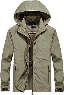 LongPing Men's Mountain Rain Jacket Windproof Softshell Coats Hooded Outdoor Windbreaker for Camping Hiking