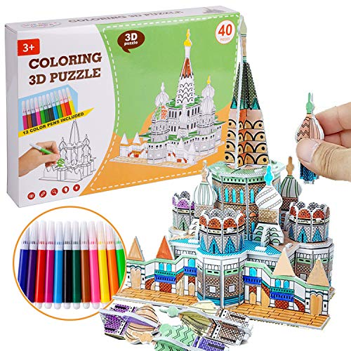 Arts and Crafts for Kids Ages 4-12, All-in-One Kids Craft Painting Kit-Build Your Own Castle. Best Creativity DIY Arts and Crafts for Girls & Boys