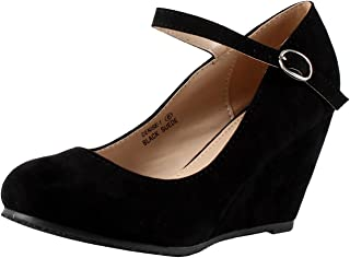9c8d6baaf0f27 Bella Marie Denise-1 Women s round toe wedge heel mary jane squeaky strap  suede shoes