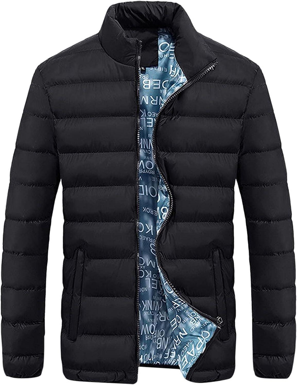 Men Lightweight Stand Collar Down Jacket Full Zip Puffer Coat Winter Warm Down Jacket Padded Casual Parka