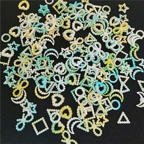 50/100 unids / pack colores degradados tamaño de la mezcla luna estrella corazón ABS perla hueca cuentas sueltas ropa DIY cuentas de ropa artesanías-verde, 50 piezas