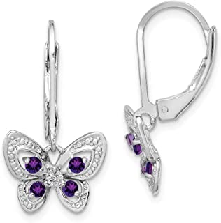 925 Sterling Silver Dangle Polished Leverback Rhodium-plated Amethyst and Diamond Butterfly Earrings