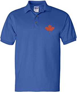Allntrends Men's Polo T Shirt Embroidery Canada Flag Embroidered Canadian Tee