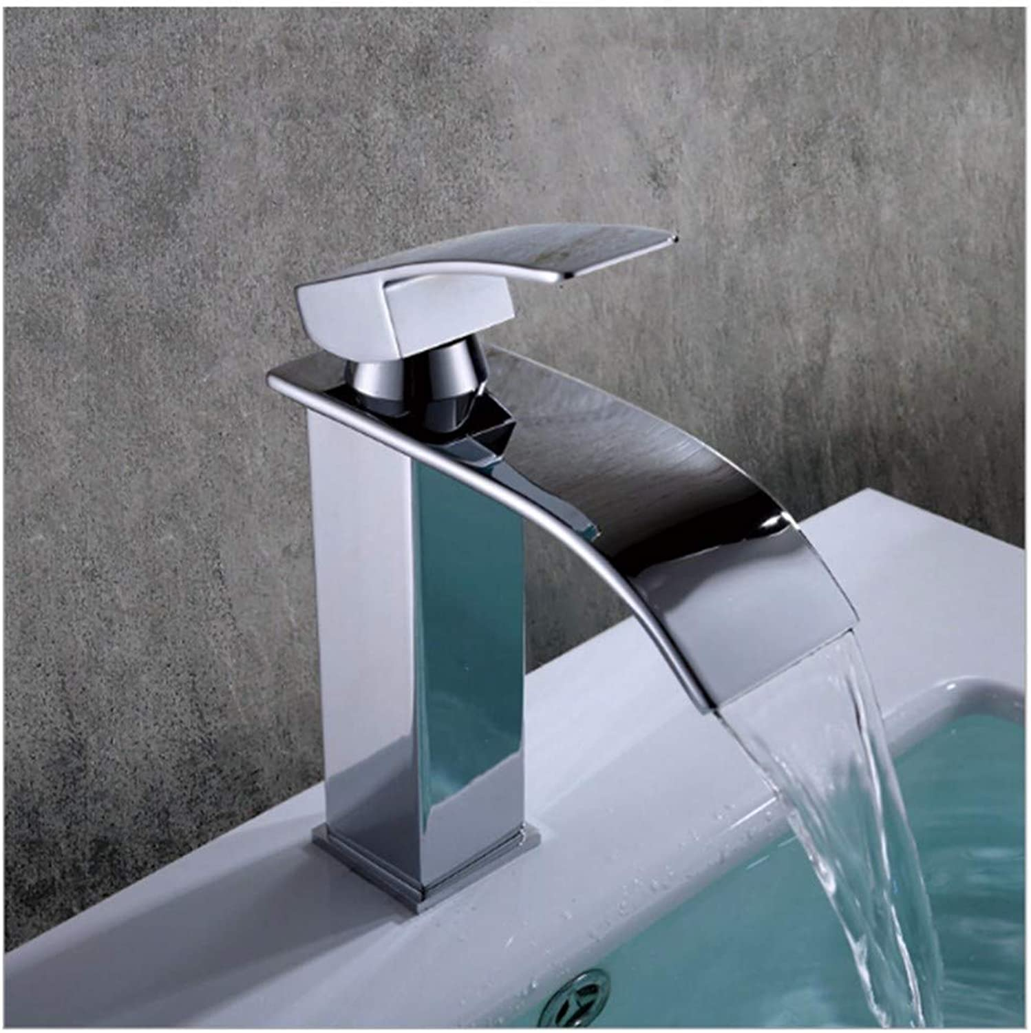 Faucet Retro Plating European Style Brass Faucet With Waterfall And Hose Pure Copper Vintage Curve High-End Polished Water Tap Washbasin Mixer Basin Sink Bathroom Single Spout 1 Lever Handle