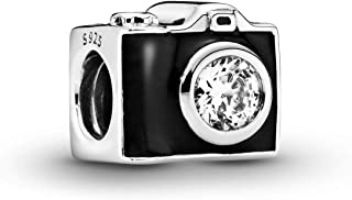 Jewelry - Vintage Camera Charm in Sterling Silver with Black Enamel and Black Cubic Zirconia