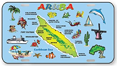 Rockin Gear License Plate Aruba Souvenir and Gift 6 by 12 Metal Ocean Blue Map Official Car auto Sized License Plates Aruba