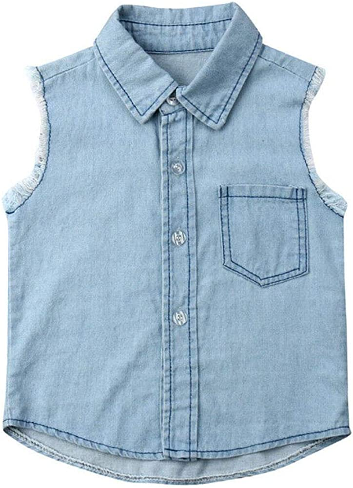 ONE'S Kid Baby Boys Summer Sleeveless Button Down Denim Tank Top Shirt Jacket Outfits