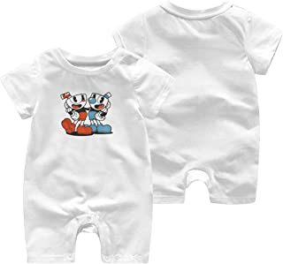 ZooJane Soft Cotton Baby Boy Jumpsuit 0-3M Rompers for Toddler with Cuphead and Mugman Pattern White
