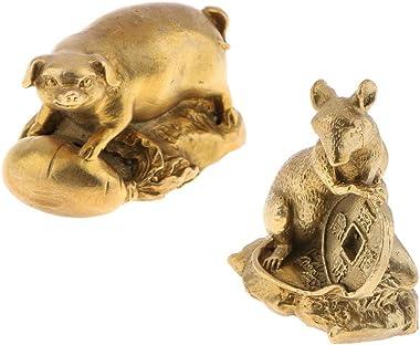 Flameer 2X Oriental Chinese FENGSHUI Decoration Brass Zodiac Animal Figurine Pig Rat Sculpture Table Shelf Decor