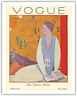 "Pacifica Island Art Vogue Magazine - 1925 年 10 月 - Paris Fashions - Georges Lepape 出品的复古杂志封面 - 艺术印刷品 11"" x 14"" APB9328"
