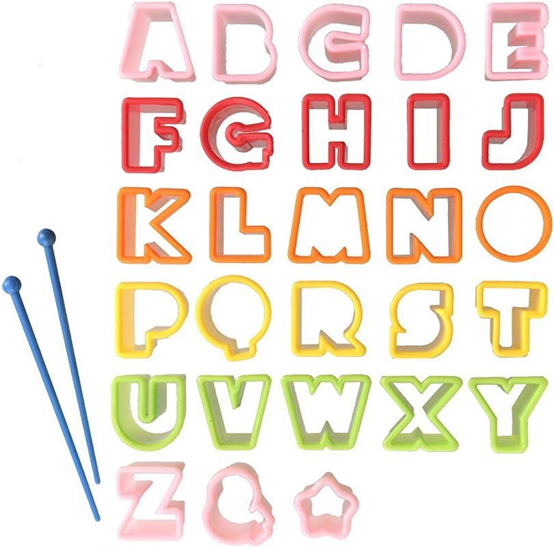 CuteZCute Bento Ham Cheese Carrot Cutter Letters 28 Piece