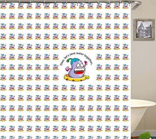 GjbCDWGLA Cartoon Hellviolette Aubergine Duschvorhang Mode Bad Gardinen Weiß Polyester Wasserdicht Schimmel Resistant Bad Vorhang 180 * 180 cm