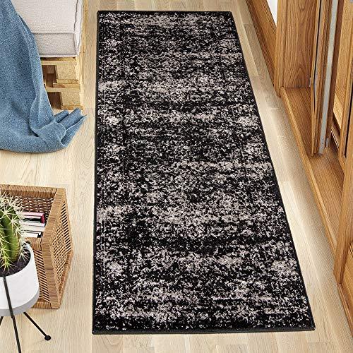 Carpeto Rugs Läufer Teppich Flur Vintage Muster - Küchenläufer, Flurläufer, Küche, Schlafzimmer - Teppichläufer in vielen Größen - Kurzflor Used Look in Schwarz, Grösse: 60 x 200 cm