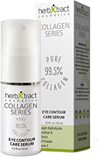 Eye Contour Care Serum for Upper Eyelid Lift, Dark Circles, Puffiness, Under Eye Bags with Collagen, BeautyfeyeR, Pearl Powder, Hyaluronic Acid, Guarana, Vit. E by HerbXtract - 0.5 Fluid Ounces