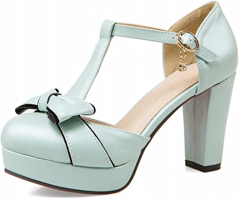 Lucksender Womens Round Toe High Heel Platform T-Strap Sandals Pumps with Cute Bowknots