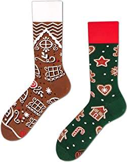 Many Mornings, The Gingerbread Man Calcetines multicolores con motivos de pan de jengibre, casa, corazón, productos horneados