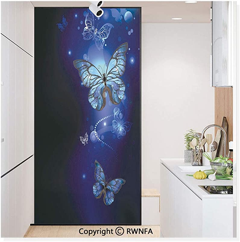 Non Adhesive Privacy Window Film Door Sticker Fantasy Magical Butterflies Monarch Artistic Morpho Inspiration Glass Film 23 6 In By 78 7in 60cm By 200cm Light Blue Dark Blue Grey