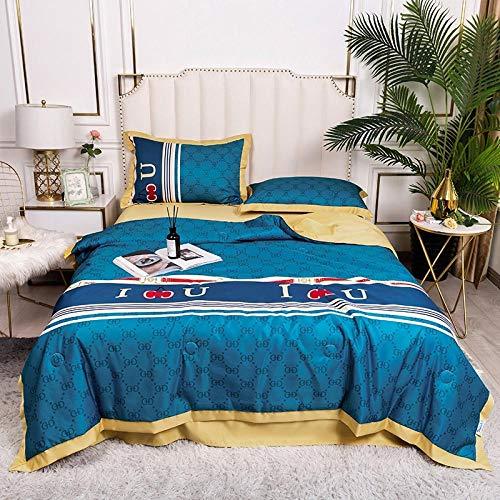 Meet Beauty Sabanas Raso, Hoja Ajustada y 2 pillowcasas Conjunto de Ropa de Cama - contracción y Resistente a la decoloración-Azul Oscuro_180x220cm una Colcha de Verano