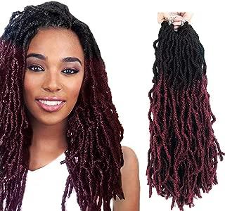 FASHION IDOL Nu Locs Crochet Hair 6 Bundles Faux Locs Crochet Hair Synthetic Natural Wavy 14 Inch Goddess Locs Crochet Dreadlock Extensions Hair Twist Braids Natural Black & Wine Red (TT1B/118)